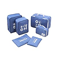 P.travel Travel Packing Cubes Clothes Organizers Laundry Bag 6pc Set (Blue)