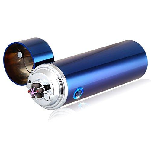 Qimaoo USB Elektronisches Feuerzeug Aufladbar Triple Lichtbogen Sturmfeuerzeug Zigarettenanzünder ohne Flamme für Zigaretten Camping