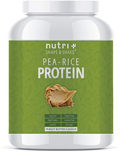 Erbsenprotein + Reisproteinpulver - Veganer Eiweißshake ohne Soja, Gluten, Laktose und Zucker - Erdnussbutter 1kg - Protein Vegan Peanut-Butter - in Deutschland hergestellt -