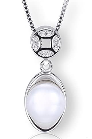 Startreasureland 925 Sterling Silver Pendant Necklace with 8mm White Freshwater Cultured Pearl