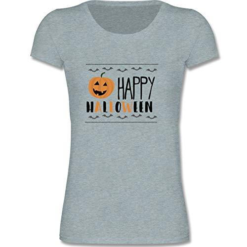 Sprüche Kind - Happy Halloween Kürbis - 122-128 (7-8 Jahre) - Blau/Grau meliert - F288K - Mädchen T-Shirt