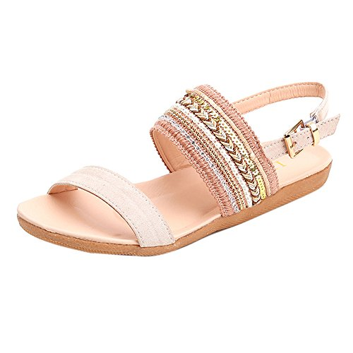 Longra Fashion Femme Microfibre Bohême Pantoufles Tongs Sandales Plates Toe Beach Gladiator Chaussures Rose