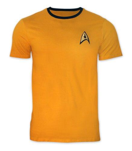 Star Trek T-Shirt Uniform - Captain Kirk mit goldfarbenem Stick (Star Enterprise Trek Uniform)