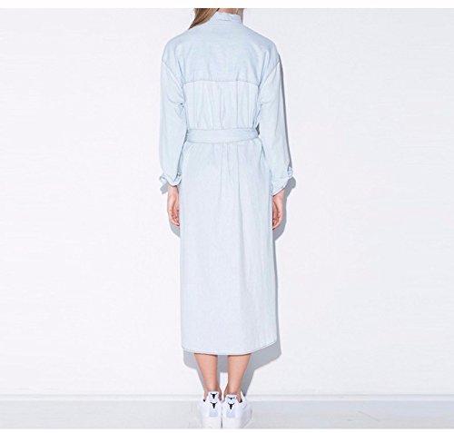 Minetom Femme Casual Revers Denim Manches Longues Blouse Tunique Robe Longue Chemise Robe de fête One Color