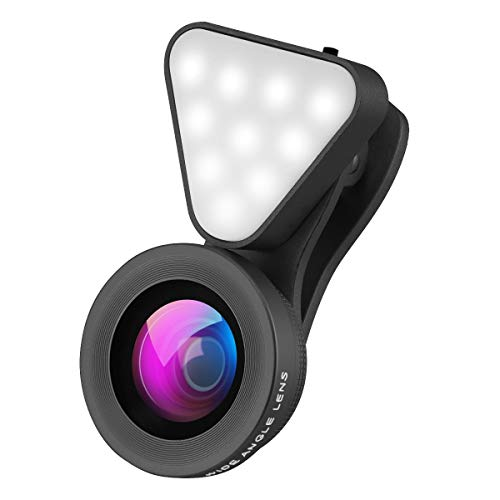 W.KING Smartphone-Kamera-Objektiv, Wiederaufladbare Selfie Ringlicht, 15X Makroobjektiv und Weitwinkel-Objektiv, Level 3 Einstellbare Helligkeit Fill-Licht für iPhone X, Samsung,-Videoleuchte,Schwarz