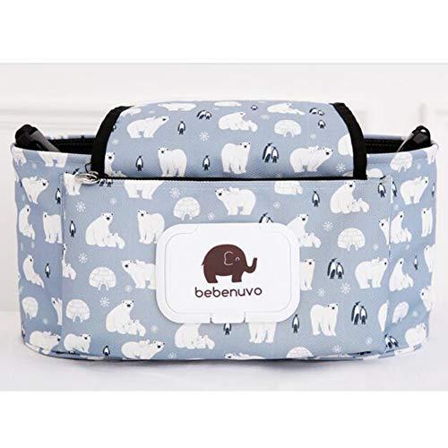 Kinderwagen Tasche Mumie Tasche Flaschenhalter Kinderwagen Nylon Einstellbare Kleinigkeiten Organizer Universal Große Kapazität Windel Shop Hängen(Weißer Bär) -
