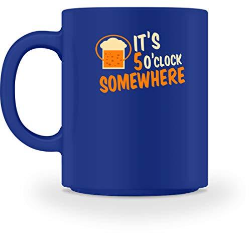 SPIRITSHIRTSHOP It's 5 O'clock Somewhere - Irgendwo Ist Es 5 Uhr - Zeit, Trinken, Bier, Alkoholiker, Glas - Tasse -M-Royal Blau