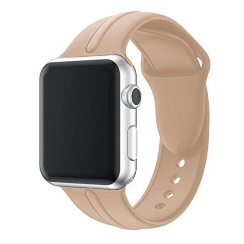 hkfv único color jóvenes Causal Diseño Correa de Iwatch, deporte suave silicona Reemplazo Deportes banda para Apple Watch Series 1/2 38 mm, color café