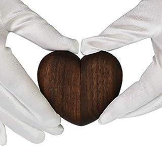 aufodara Wood Ring Box Heart Jewelry Box (Brown)