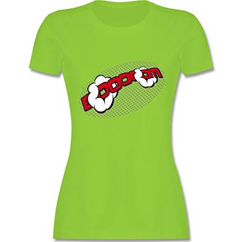 Comic Shirts - Booom! - tailliertes Premium T-Shirt mit Rundhalsausschnitt für Damen Hellgrün