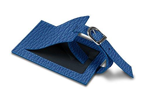 Lucrin - Etichetta per bagagli - Bianco - Pelle Ruvida Blu Azzuro