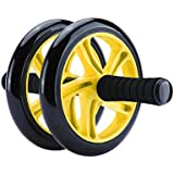 House of Quirk Ab Roller Wheel Abs Carver for Abdominal & Stomach Exercise Training With Mat (Yellow)