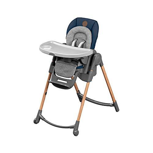 Bébé Confort Minla Chaise Haute Evolutive, Réglable 6 positions, de la naissance à 6 ans (jusqu'à 30kg), Essential Bleu
