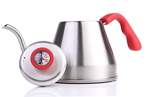 Wasserkessel für handgebrühten Kaffee oder Tee mit Temperaturanzeige aus gebürstetem Edelstahl von The Elan Collective 1.2L (Hot Salmon) Kessel Mit Schwanenhals