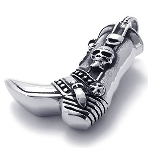 Beydodo Edelstahl Halskette (Massive Kette) Silber-Schädel Boot Biker 18-26