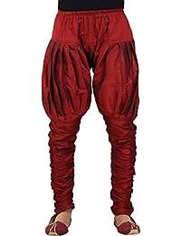 Larwa Men's Dupion Silk Ocassional Pyjama (Red, Free Size)