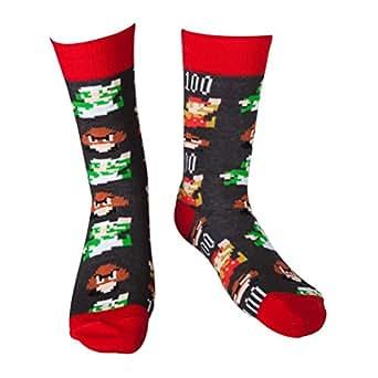 Offizielle Nintendo Super Mario Pixelkunst Neuheit Crew Socken: S/M (EU-Größe 39-42)