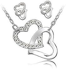 SODIAL(R) Collar de adorno y pendientes 2 corazones entrelazados y Cadenas chapadas oro blanco de 18 quilates - Blanco