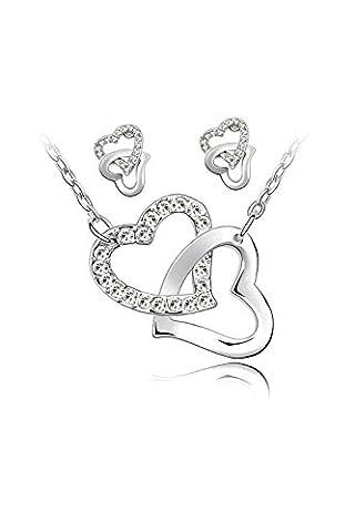 TOOGOO (R) 2 Stueck Halskette und Ohrringe 2 verflochtene Herzen und Ketten ueberzog 18k weisses Gold - weiss