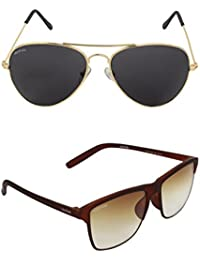 Creature Black & Brown Aviator Sunglasses Combo With UV Protection (Lens-Black & Brown||Frame-Golden & Brown||...