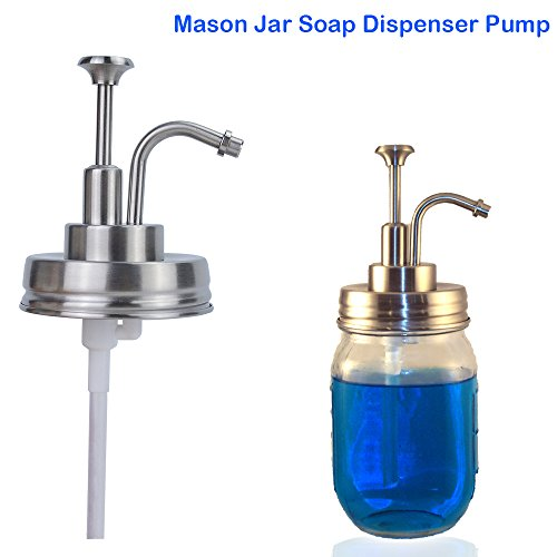 NEW DESIGN, Rust Proof Mason Jar Liquid Soap or Lotion Dispenser Pump and Lid Kit Set for Standard Regular Mouth Jars (JAR NOT INCLUDED) Latest Design only by KRUVAN