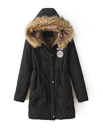 Missmao donne giacca lungo parka con cappuccio di pelliccia ecologica coulisse cappotto calda maniche lunghe nero xs