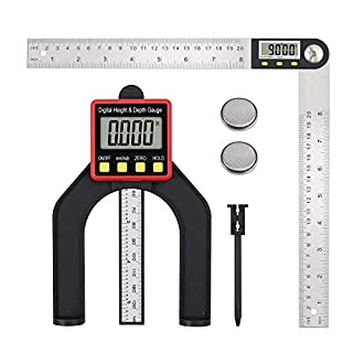 Proster Digital Depth Gauge And 8 Inch Digital Angle Finder Protractor Set Tool Stainless Steel for Woodworking Construction Repairing
