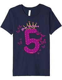 Kinder Geburtstagsshirt 5 Jahre Mädchen Prinzessin Schmetterling