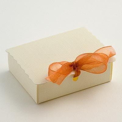 Rectangular Scalloped Edge Box - Ivory Silk (Pk 10 flat packed, without decorations)