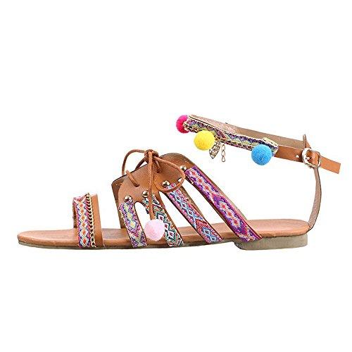 VJGOAL Damen Sandalen, Frauen Mädchen Böhmen Sandalen Gladiator Leder Ethnischen Stil Sandalen Wohnungen Schuhe Pom-Pom Beach Party Sandalen Geschenke (42 EU, Mehrfarbig) (Leder Stiefel Tasche)