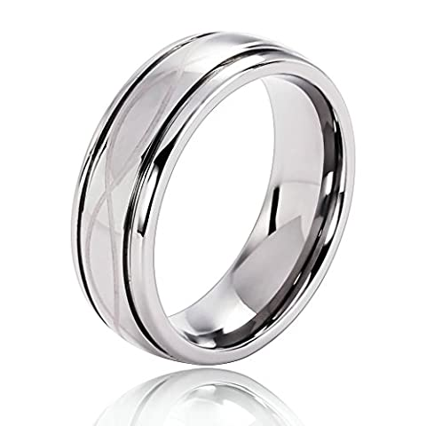 Epinki Tungsten Ring, Men's Wedding Bands Two Lines Grooves Cross Silver Size V 1/2