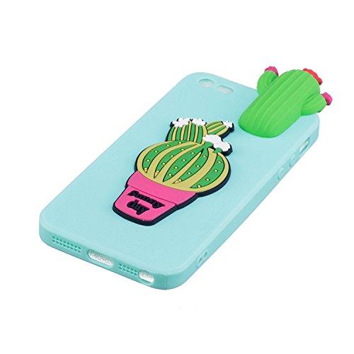 Coque pour iPhone 5S ,Etui iPhone SE , Transparente TPU Case Silicone Slim Souple Étui de Protection Flexible Soft Cover avec Charmant Fruit Motif Coloré Anti Choc Ultra Mince Integrale Couverture Bum Cactus