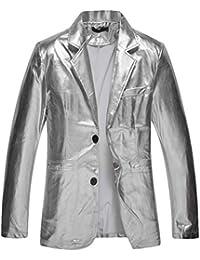 BOLAWOO Gioventù Uomini Bronzing Slim Abiti Giacca Cappotto Fit Casual  Bianco E Mode di Marca Nero Stile Discoteca A Due Pulsanti… 51968aa15fc