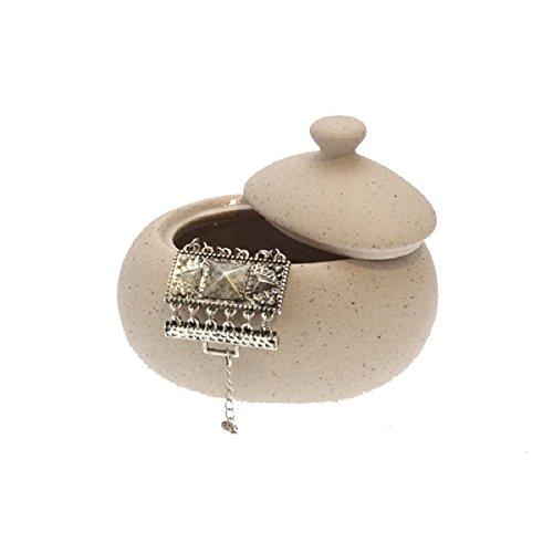 Carpe Modo Bijoux Récipient ouate Récipient en céramique couleur : Beige