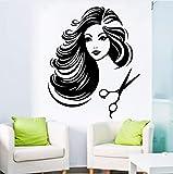Hwhz 71 X 114 cm Beautiful Salon Girl Vinyl Wall Sticker Hot Sexy Barbershop Girl Doing Her Hair Cut Art Wall Sticker Home Decor Wallpaper