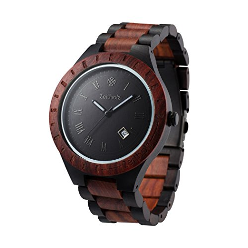 Zeitholz Herren-Holzuhr analog mit Sandelholz-Armband Modell Zittau schwarz - braun