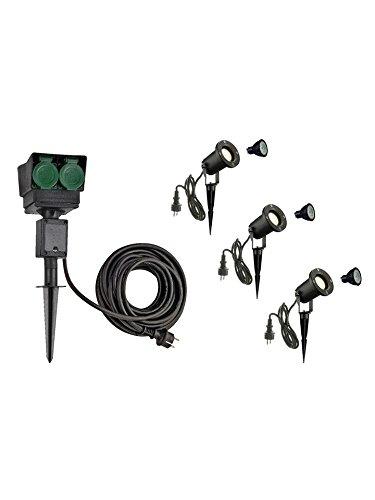 SLV LED Strahler NAUTILUS XL 3er Set mit Erdspieß, 4-fach IP44 Gartensteckdose 10m, 3x GU10 Leuchtmittel | Außenlampen für Beleuchtung von Garten, Pflanzen, Wegen, Teich | Aussen-Leuchte, Außen-Strahler