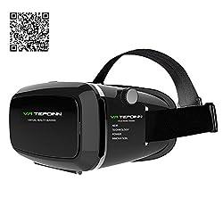 Tepoinn VR Brille/3D VR Virtual Reality Brille Headset 3D-VR-Brille für 4.0 ~ 5.5 Zoll Smartphones für 3D-Filme / Spiele, besser als Google Karton, iPhone5 / 6 / 6S mit Kopfhalterung (mit Deutsch Bedienungsanleitung)