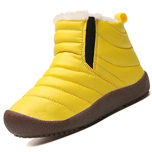 KVbaby Waterproof Snow Boots Boys Faux Fur Lined Ankle Booties Unisex Kids Winter Warm Anti-Slip Trainers
