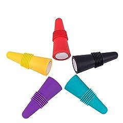Idea Regalo - Rmeet Tappo Vino Silicone,5 Pezzi Tappo di Bottiglia Colori Riutilizzabili Tappo di Vino con Vite per Preservare Birra Champagne Bevanda Alcolica