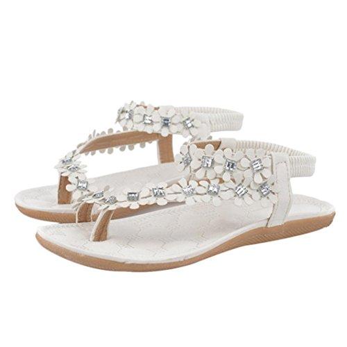 HCFKJ 2017 Mode Frauen Sommer Bohemia Flower Beads Flip-Flop Schuhe Flat Sandalen Weiß