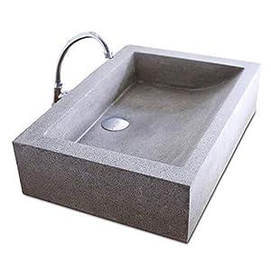 Lavabo de encimera de material de terrazo cuadrado de lujo, lavabo de color de hormigón gris natural lavado, cuarto de…