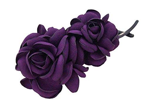 Simple Fleur Clip Torsion Banane Clips épingle à Cheveux Verticale Ornements, Violet