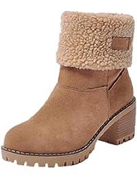 NEOKER Damen Winterschuhe Schneestiefel Plateau Shorts Stiefel Chunky Heels Boots Stiefeletten Fell Bequeme Gefüttert Mode Schuhe 6 cm Schwarz Orange Khaki 35-43