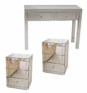 My furniture chelsea toeletta console a specchio e 2 comodini a specchio a tre cassetti - Comodini a specchio ...