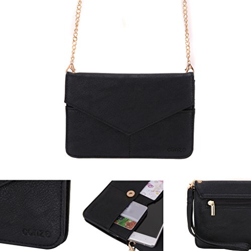 Price comparison product image Conze Women's Clutch Wallet Everything Bag with Shoulder Straps fits Smart Phone for Yezz Monte Carlo 55 LTE / VR in Black
