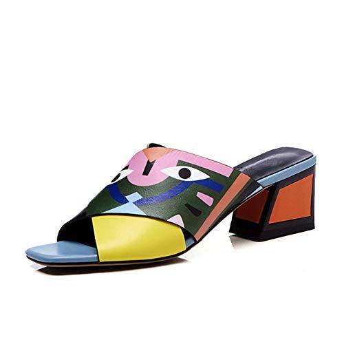 en Schuhe Kreuz Design Kleines Monster Sandalen Echtes Leder Mittlerer Absatz Damen Sand Hausschuhe,Blue,35 ()