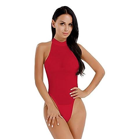 iEFiEL Body Damen elegant Bodysuit Ärmellos Shirt elastischer Body Tops Overalls Jumpsuit Rot One Size