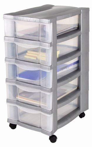 Rollcontainer, Schubladenschrank, Bürocontainer, Rollwagen, Werkzeugschrank, Schubladenwagen - mit 5 transparenten Schubladen und 4 Leichtlaufrollen zum einfachen Bewegen -