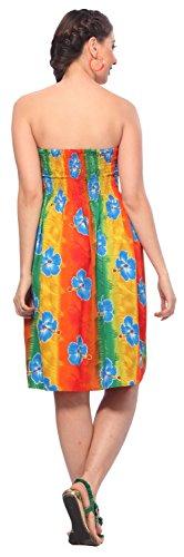 La Leela soft likre alle in 1 Badebekleidung Damen Abschlussball casual Abend Ferien sundress Tunika Halfter tropischen Top Bandeau-Bikini-Vertuschung Lounge Kleid Rockfrauen des kurzen Kleid Rot